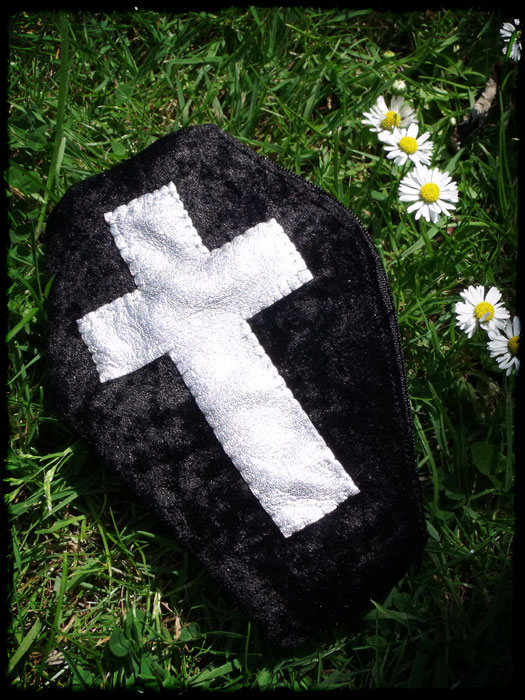 Black Velvet Coffin Purse