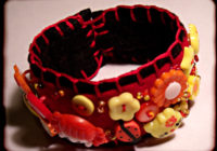 Button Encrusted Felt Cuff
