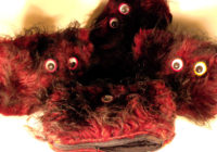 Long Black Red Fur & Googly Eyes