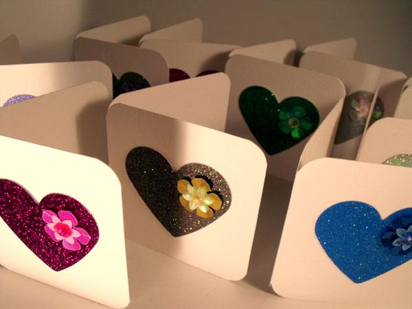 hearts sequins mini greeting cards powder monki