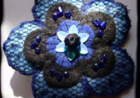 Blue Felt Floral Brooch